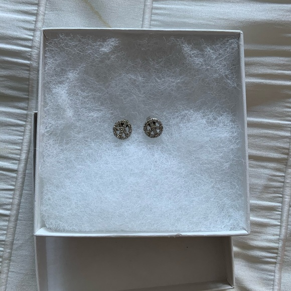 New sterling silver peace sign baby earrings $40